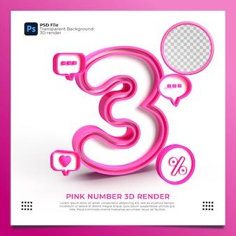 Feminino número 3 3d render cor rosa com elemento