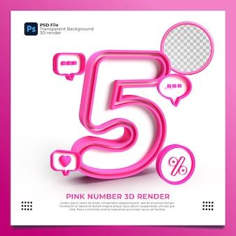 Feminino número 5 3d render cor rosa com elemento