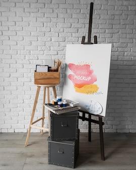 Ferramentas de pintura de artista de vista superior