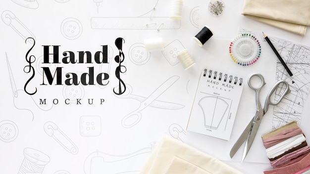 Ferramentas e linha para produtos artesanais