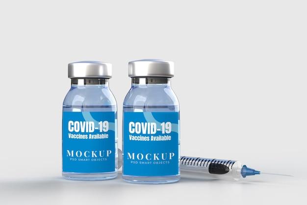 Ferramentas médicas e vacinas covid-19. modelo de maquete de banner para hospital, clínica, conceito de negócio médico. renderização 3d