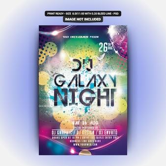 Festa da noite da galáxia do dj