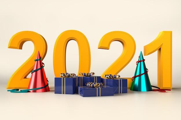 Festa de celebração de feliz natal e feliz ano novo com enfeites de caixa