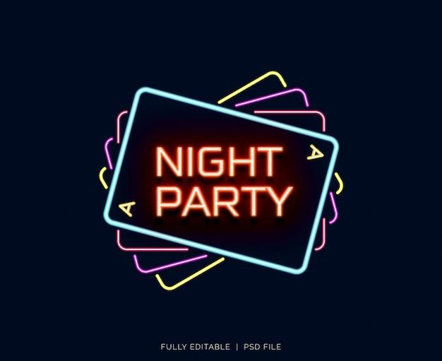 Festa de noite de efeito de texto de néon