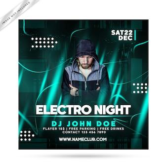 Festa de panfleto de noite electro