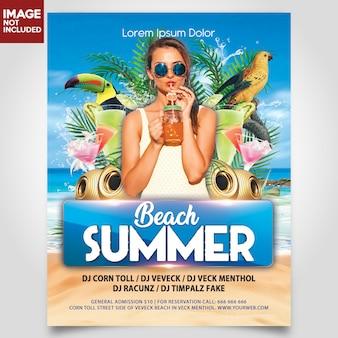 Festa de praia de verão com menina e pássaro modelo de panfleto