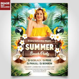 Festa de praia de verão com menina modelo de panfleto