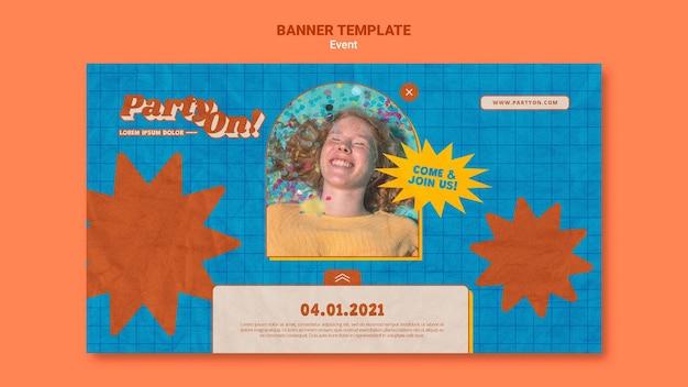 Festa em modelo de banner com foto