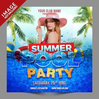 Festa na piscina de verão psd social media post