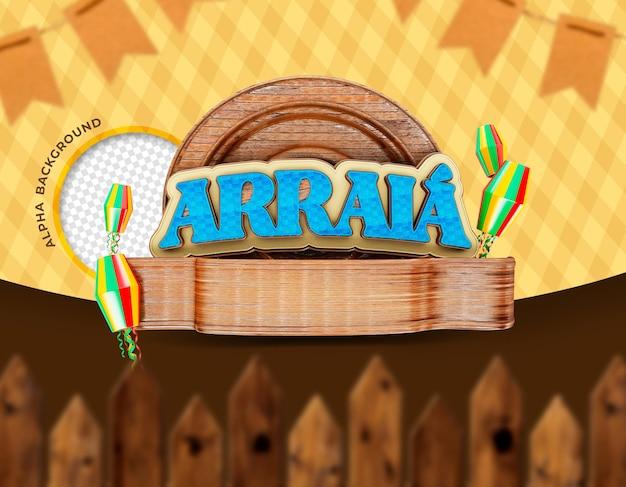 Festas juninas de sao joao brazil renderização 3d realista Psd Premium