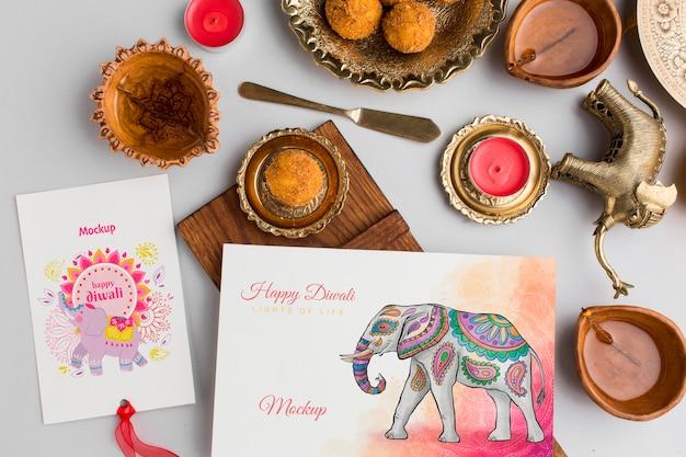 Festival hindu de diwali simulado