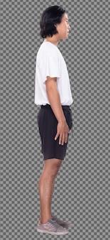 Figura corporal de 20 anos homem asiático, cabelo preto, camisa branca, calça curta, tênis, perfil do suporte. macho fica de pé e vira a frente traseira lateral vista traseira sobre fundo branco isolado