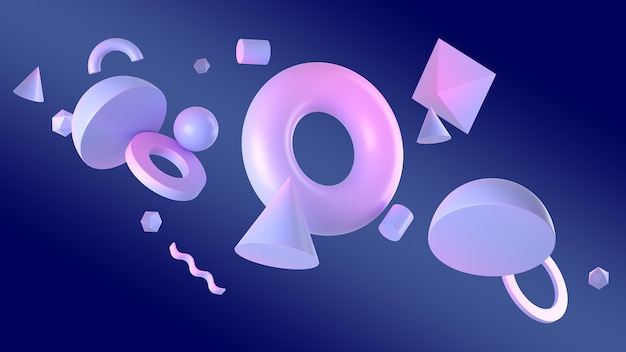 Figuras geométricas em renderização 3d