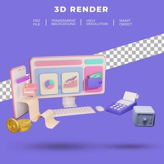 Finanças e seo ou dados de pagamento para renderização 3d isolada do site da página de destino