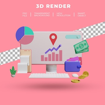 Finanças e seo ou dados de pagamento para smartphone renderização 3d isolada