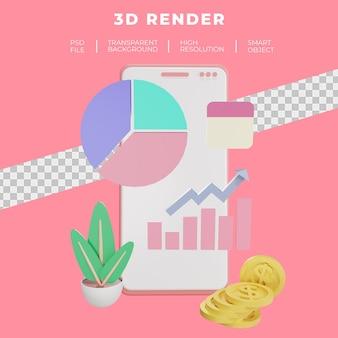 Finanças e seo ou renderização 3d de smartphone de dados de pagamento isolada