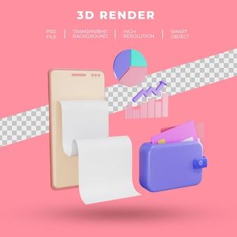 Finanças e seo ou smartphone de dados de pagamento com renderização 3d de carteira isolada
