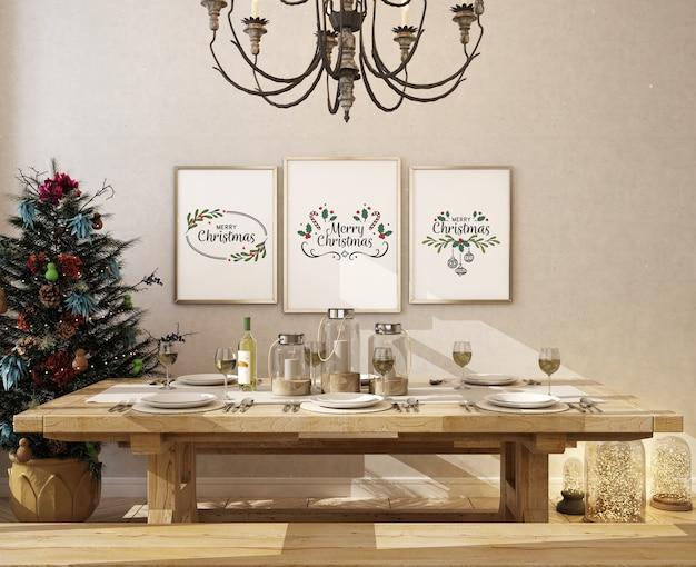 Finningroom de natal com moldura de pôster de maquete e árvore de natal Psd Premium