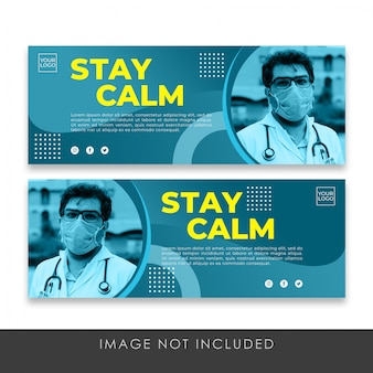 Fique calmo banner sobre modelo de coleção de saúde covid-19 premium psd