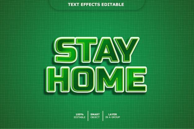 Fique em casa efeito de estilo de texto 3d