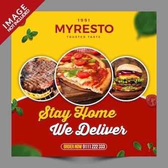 Fique em casa entregamos comida em mídias sociais