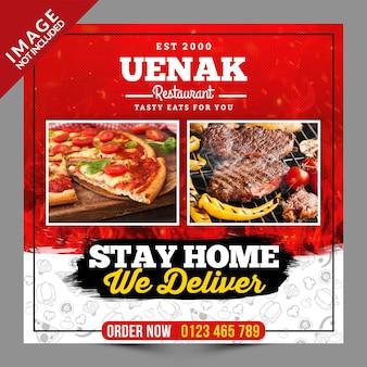 Fique em casa entregamos comida post de mídia social com 2 fotos