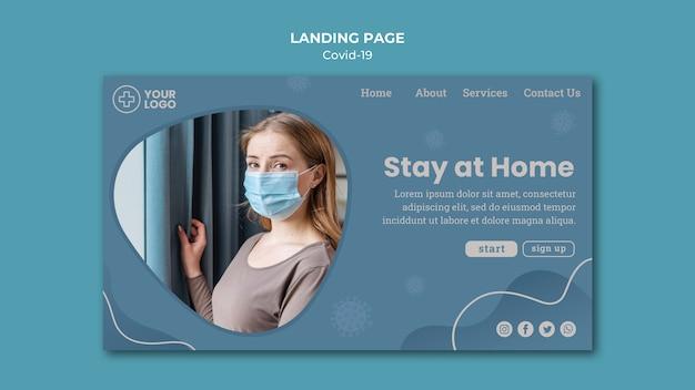 Fique em casa na página inicial do conceito de coronavírus