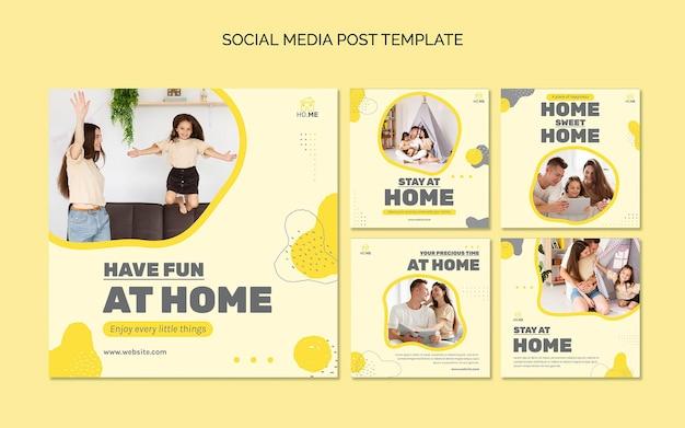 Fique em casa, postagens de mídia social