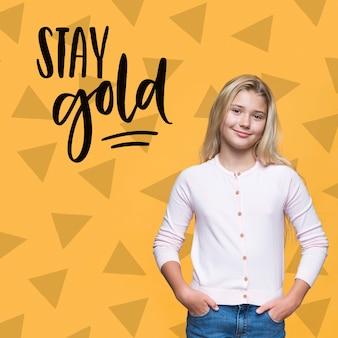 Fique ouro linda garota jovem