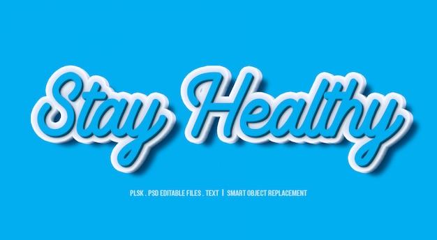 Fique saudável 3d maquete de efeito de estilo de texto