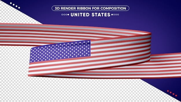 Fita de renderização 3d dos estados unidos para composição