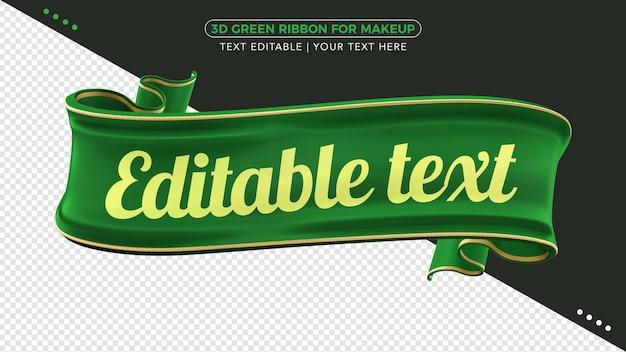 Fita de tecido verde 3d com maquete de texto