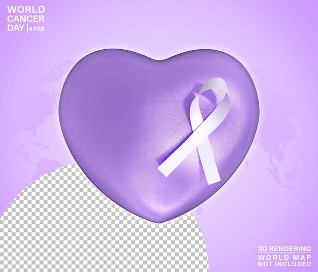 Fita do símbolo do dia mundial do câncer no coração, amor, renderização 3d isolada