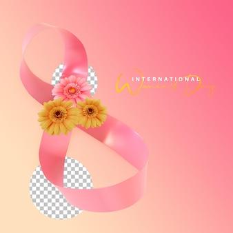 Fita dobrada com flor para renderização em 3d de celebração do dia internacional da mulher