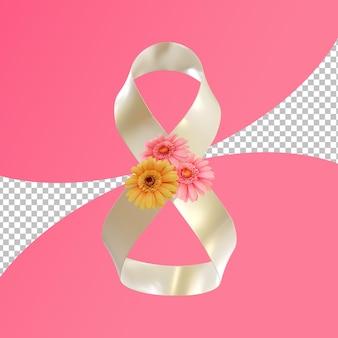 Fita dobrada para renderização em 3d de celebração do dia internacional da mulher