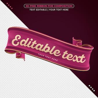 Fita rosa 3d com maquete de texto