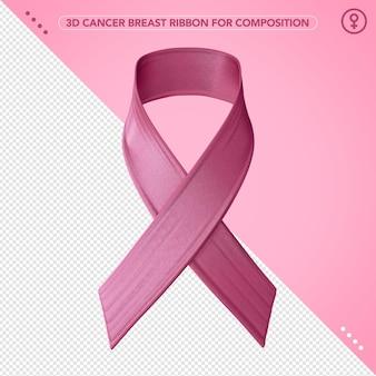 Fita rosa 3d de câncer de mama para conscientização