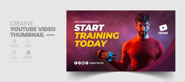 Fitness gym training youtube video thumbnail and web banner template