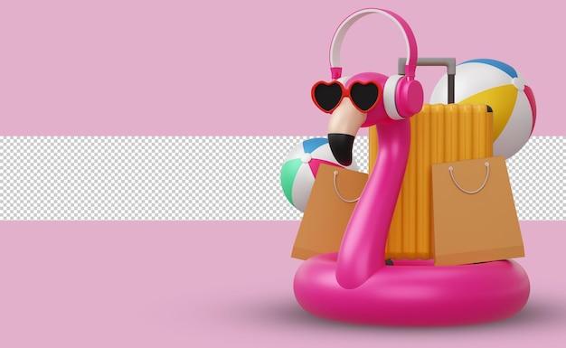 Flamingo com fone de ouvido e equipamento de praia, renderização em 3d para a temporada de verão