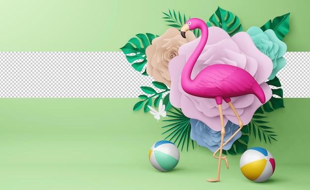Flamingo rosa e bola de praia com flor, temporada de verão, modelo de verão renderização em 3d