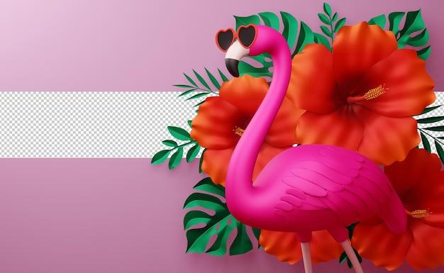 Flamingo usando óculos e flores de hibisco com folhas, temporada de verão, modelo de verão renderização em 3d