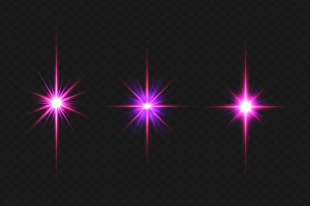 Flares de lentes coloridas de galáxia definem coleção de luzes de lentes para o feliz natal