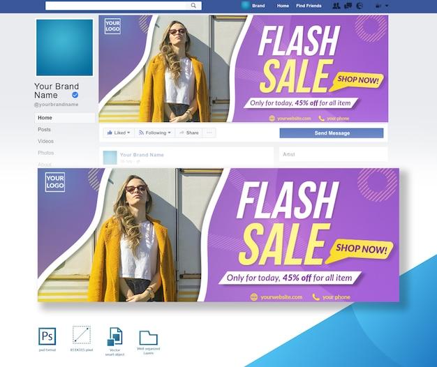 Flash sale fashion discount offer modelo de design de capa do facebook
