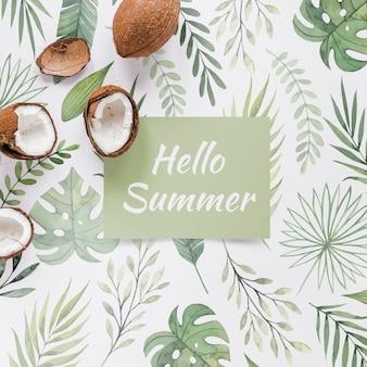 Flat lay cartão ou maquete de papel com elementos de verão