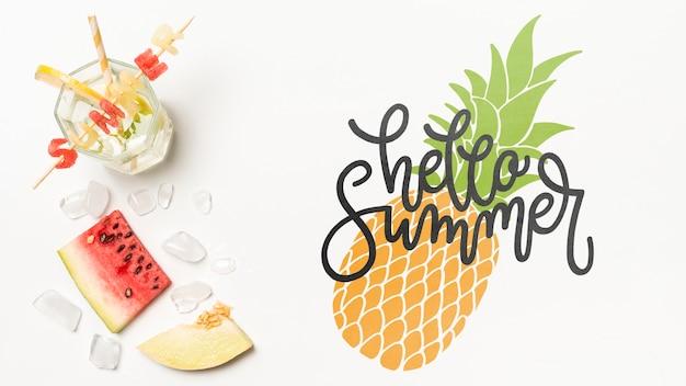Flat lay copyspace mockup com elementos de verão