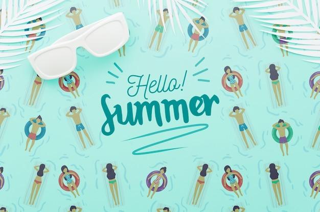 Flat lay copyspace mockup para conceitos de verão