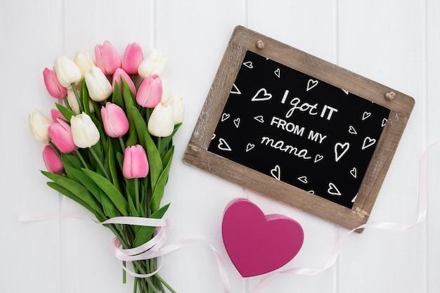 Flat lay copyspace mockup para o dia das mães