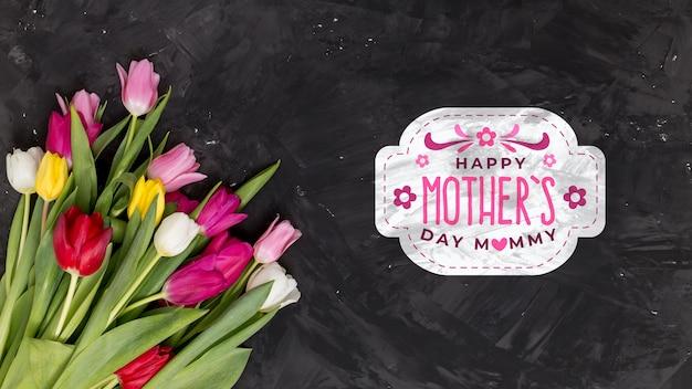 Flat lay dia das mães composição com copyspace para o logotipo