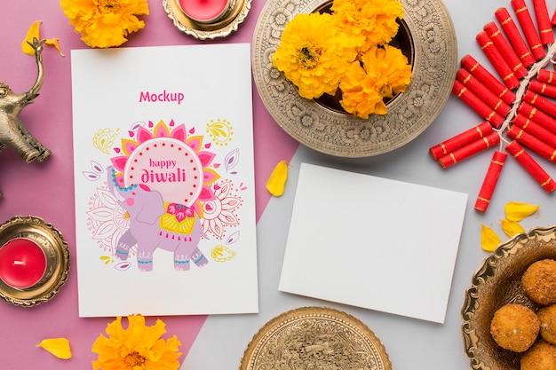 Flat lay feliz diwali festival mock-up cópia espaço cartão
