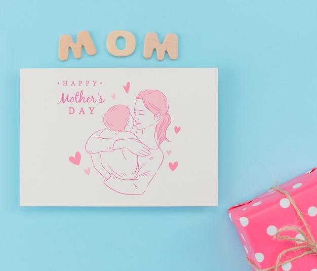 Flat lay maquete de cartão de dia das mães